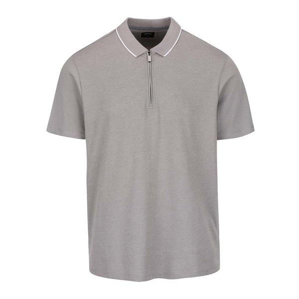 Tricou polo gri Burton Menswear London cu fermoar de la Burton Menswear London in categoria Tricouri și bluze