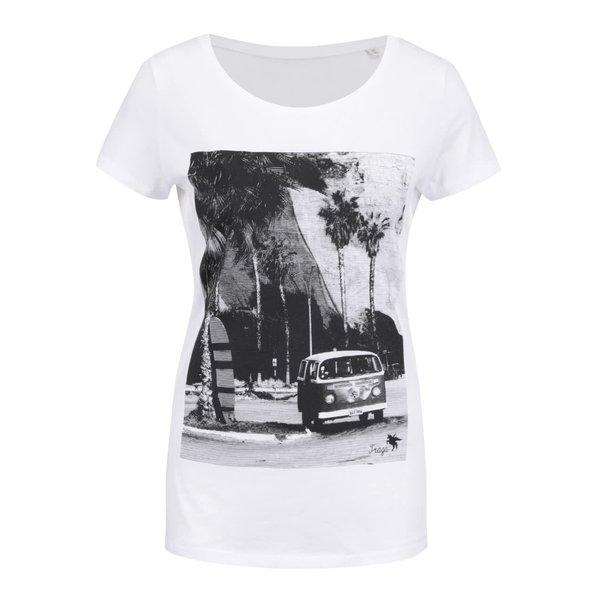 Tricou alb cu print pentru femei ZOOT Original Travel Traga