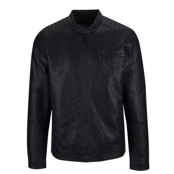 Geacă neagră ONLY & SONS Joren din piele ecologică de la ONLY & SONS in categoria Geci, paltoane, jachete