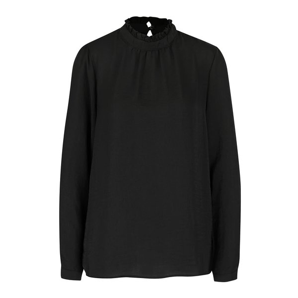 Bluză neagră ICHI Collir cu guler