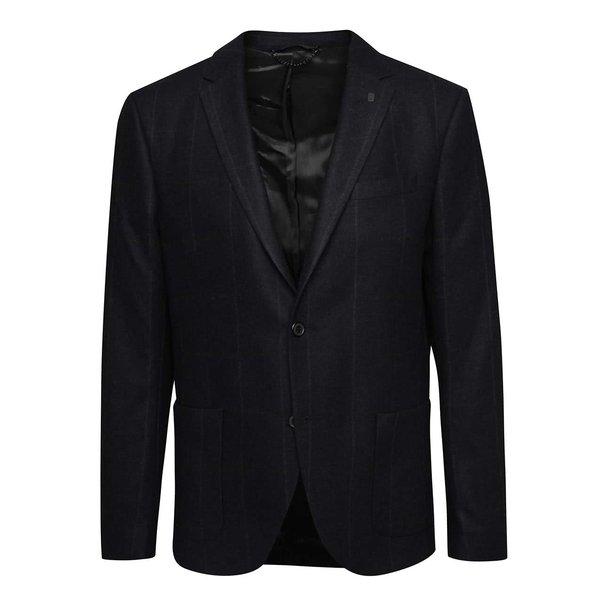 Sacou bleumarin Bertoni cu model discret în dungi de la Bertoni in categoria Geci, paltoane, jachete