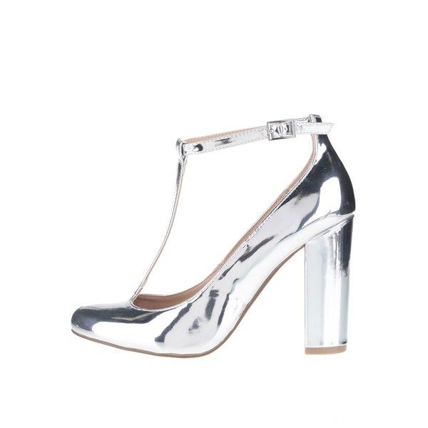 Pantofi argintii cu baretă pe gleznă Dorothy Perkins de la Dorothy Perkins in categoria pantofi cu toc