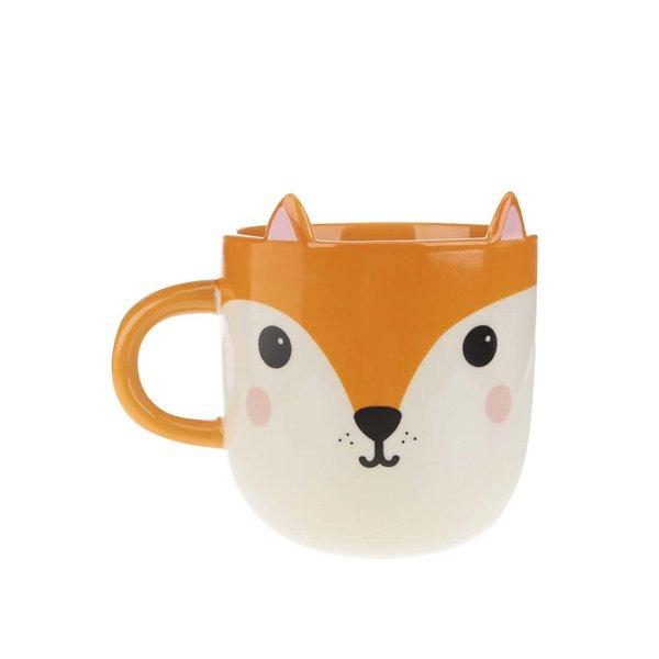 Cană crem-portocaliu Sass & Belle Kawaii Friends cu model vulpe