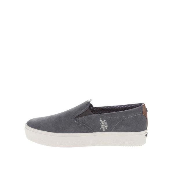 Teniși slip on gri închis U.S.Polo Assn. Trixy din piele întoarsă cu logo de la U.S. Polo Assn. in categoria pantofi sport și teniși