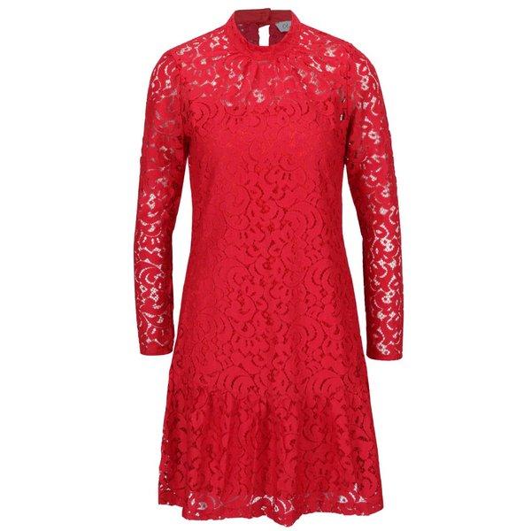 Rochie roșie Closet cu dantelă