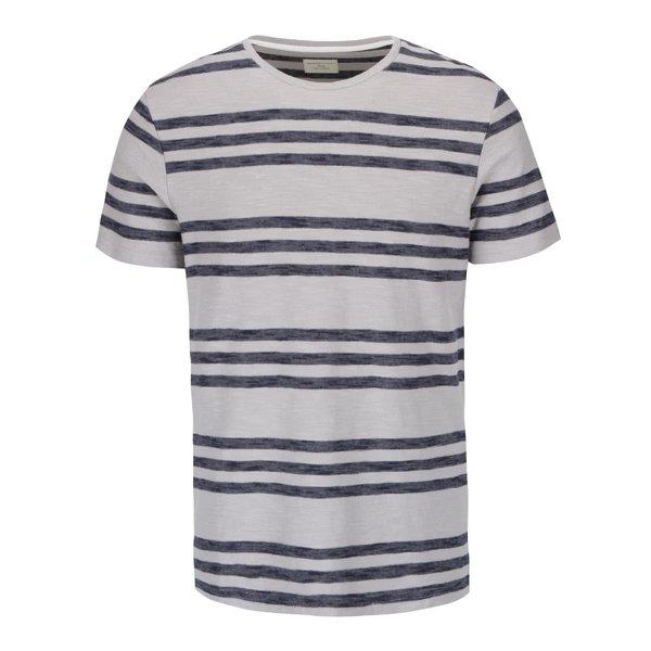 Tricou gri deschis Selected Homme Kris din bumbac cu model în dungi de la Selected Homme in categoria tricouri