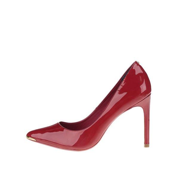 Pantofi roșii din piele, cu aspect lăcuit Ted Baker Neevo de la Ted Baker in categoria pantofi cu toc