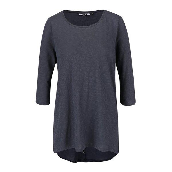 Bluză albastră ONLY Casa din bumbac cu tiv asimetric și model discret