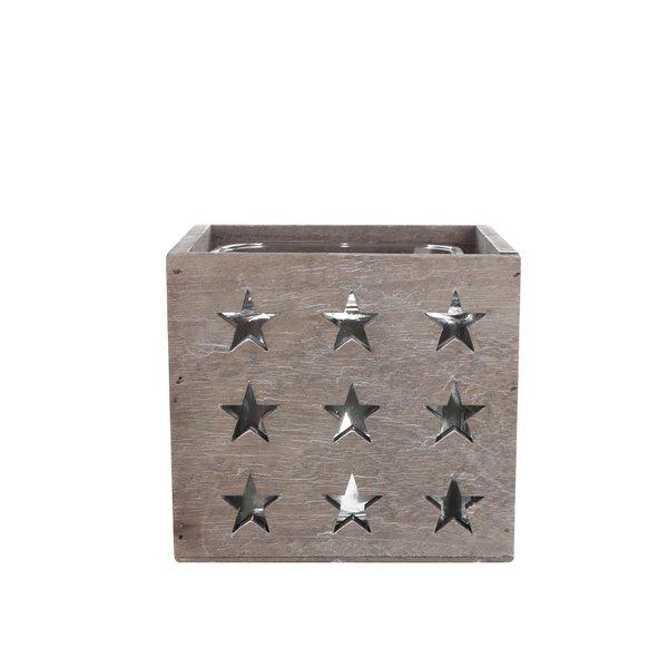 Suport de lumânări maro din lemn cu stele de la Dakls