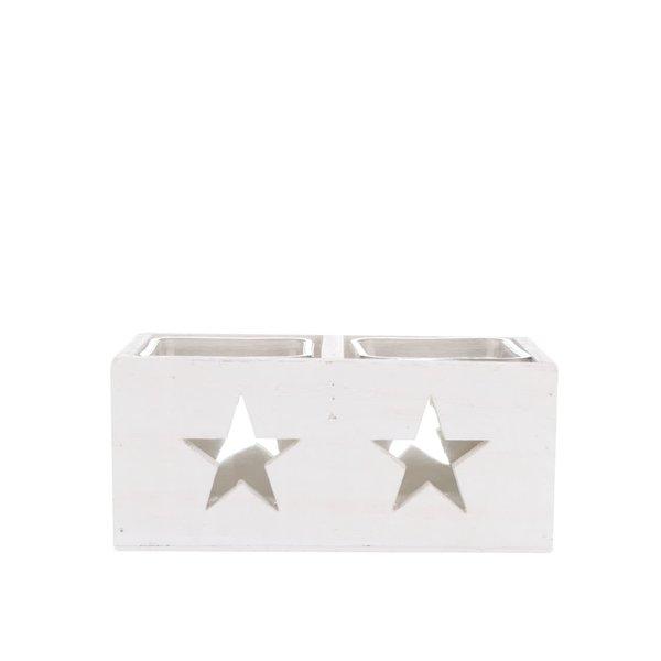 Suport Dakls dublu pentru lumânări, din lemn, cu stele – alb de la Dakls in categoria CASĂ ȘI DESIGN