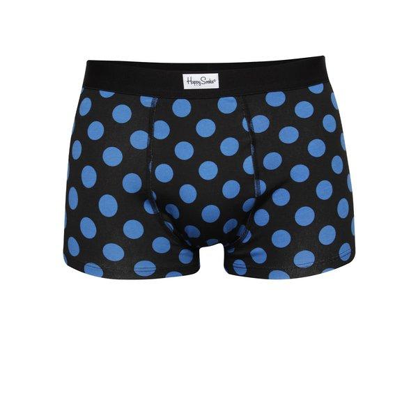 Boxeri negri Happy Socks Big Dot cu buline albastre