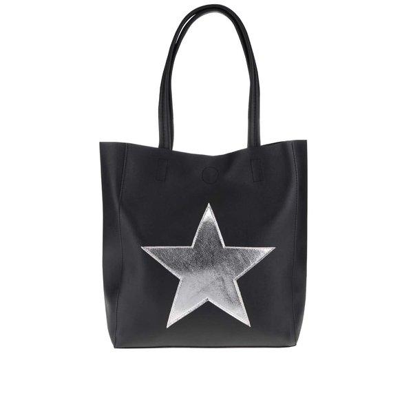 Geantă shopper neagră Haily´s Stellina cu aplicație stea argintie de la Haily´s in categoria genți mari