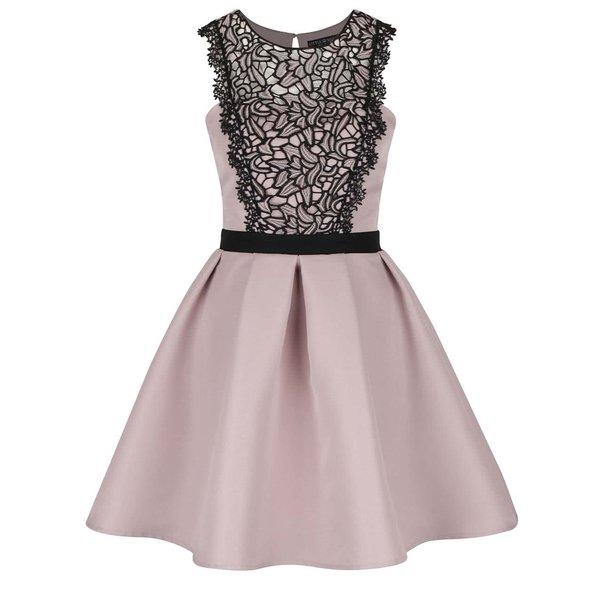 Rochie roz cu detalii negre din dantelă Little Mistress