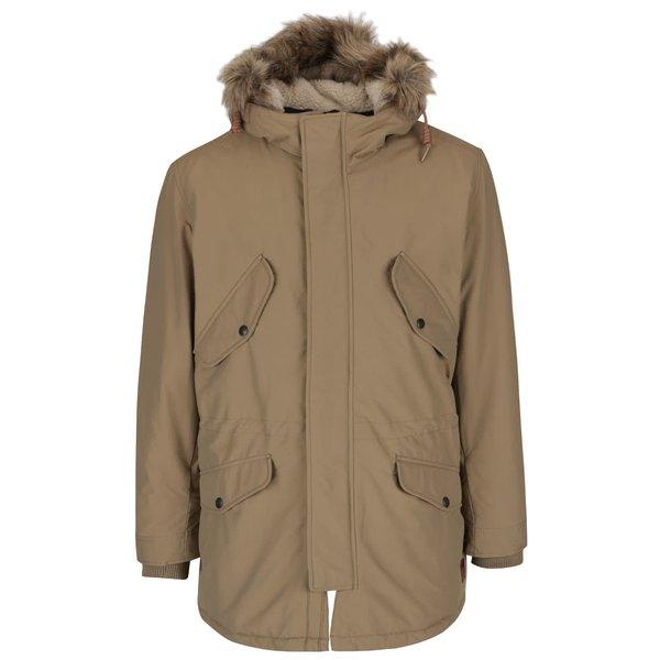 Jachetă parka gri maur cu blană sintetică Jack & Jones Arctic de la Jack & Jones in categoria Geci, paltoane, jachete