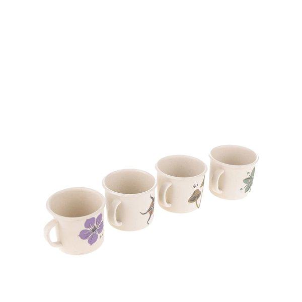 Set de 4 cești Espresso Magpie cu imprimeu