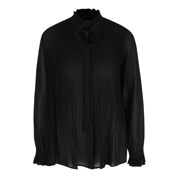 Bluză neagră Miss Selfridge cu pliuri și panglică