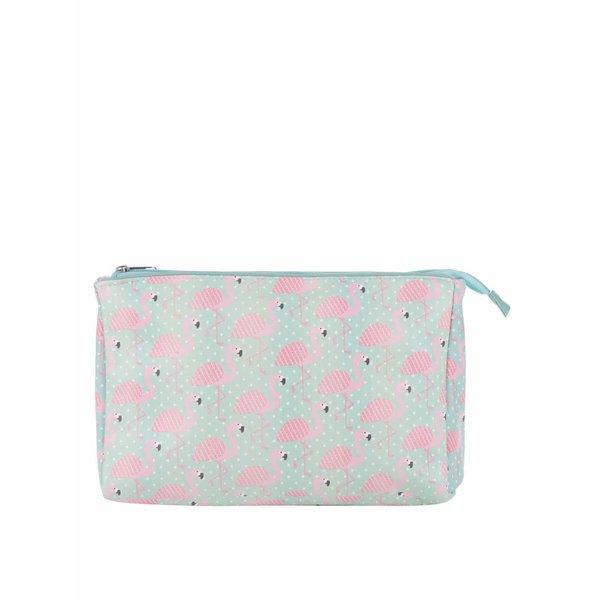 Portfard verde mentă Sass & Belle Tropical cu imprimeu flamingo roz