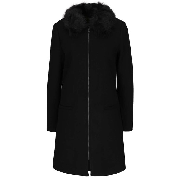 Palton negru cu guler din blana artificiala Share VERO MODA