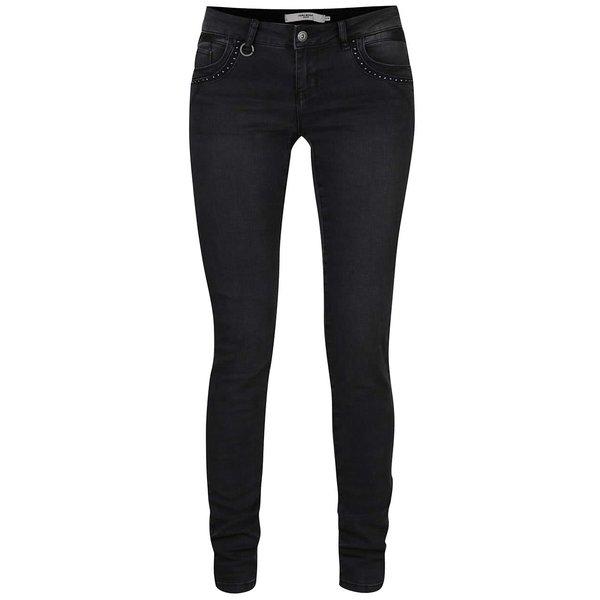 Jeanși slim fit negri cu detalii metalice VERO MODA Five de la VERO MODA in categoria blugi