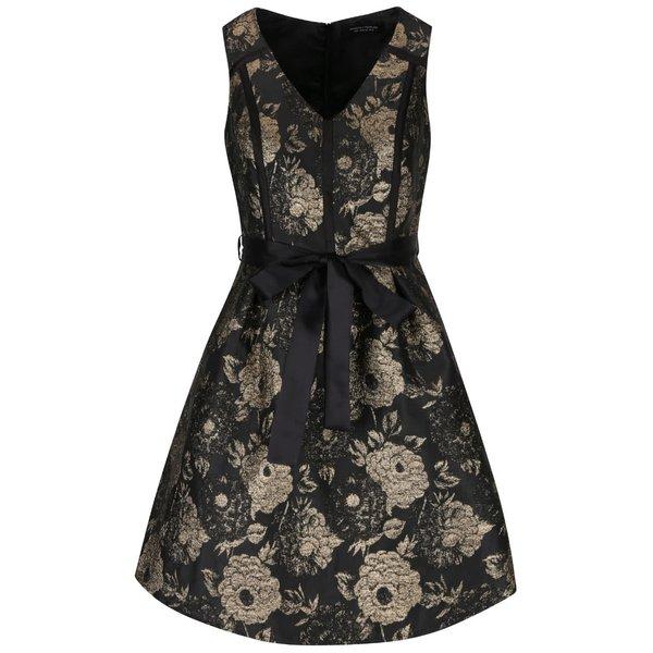 Rochie negru cu auriu Dorothy Perkins cu model floral