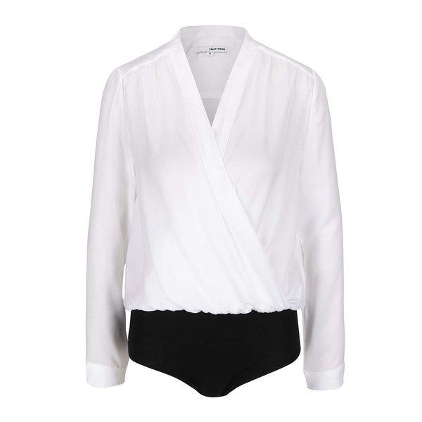 Body alb şi negru cu model drapat şi decolteu suprapusTALLY WEiJL de la TALLY WEiJL in categoria Topuri, tricouri, body-uri
