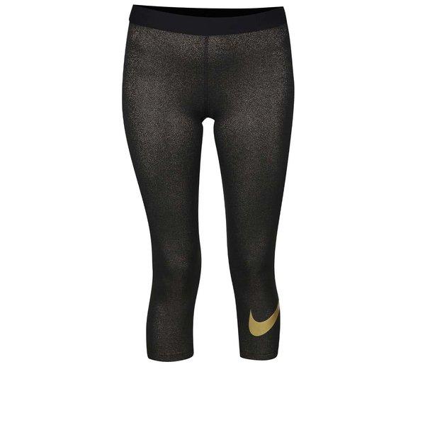 Colanți negru cu auriu Nike Pro Cool Capri