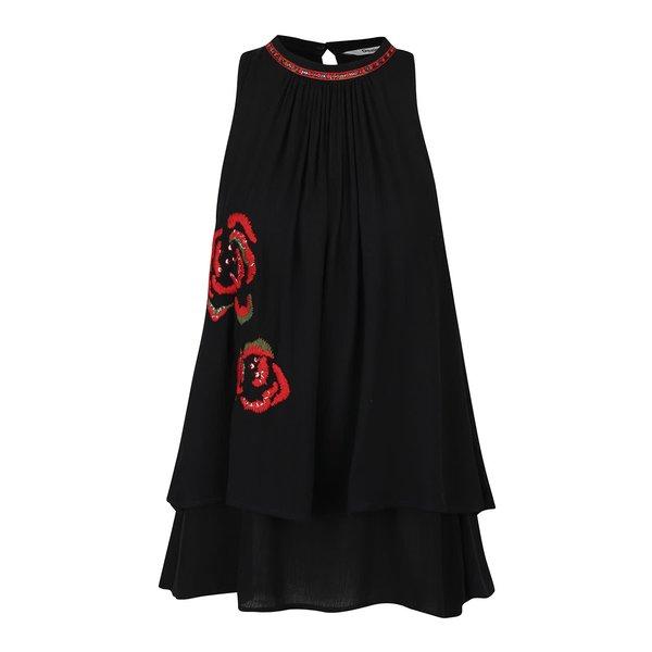 Top negru cu broderie florală și paiete Desigual Anna