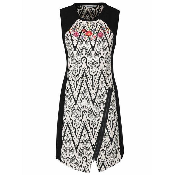 Rochie negru cu alb Desigual Oregon cu model si broderie