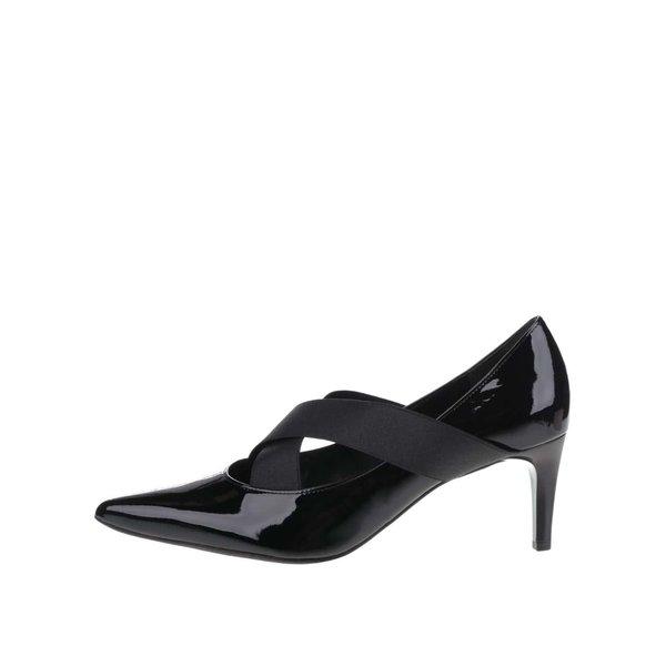 Pantofi negri Högl din piele cu barete elastice și aspect lucios de la Högl in categoria pantofi cu toc