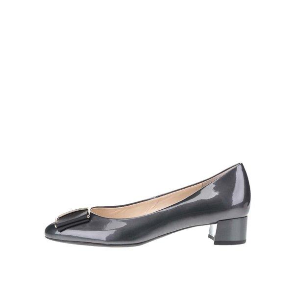 Pantofi negri Högl din piele cu aspect lucios și detaliu auriu de la Högl in categoria pantofi cu toc