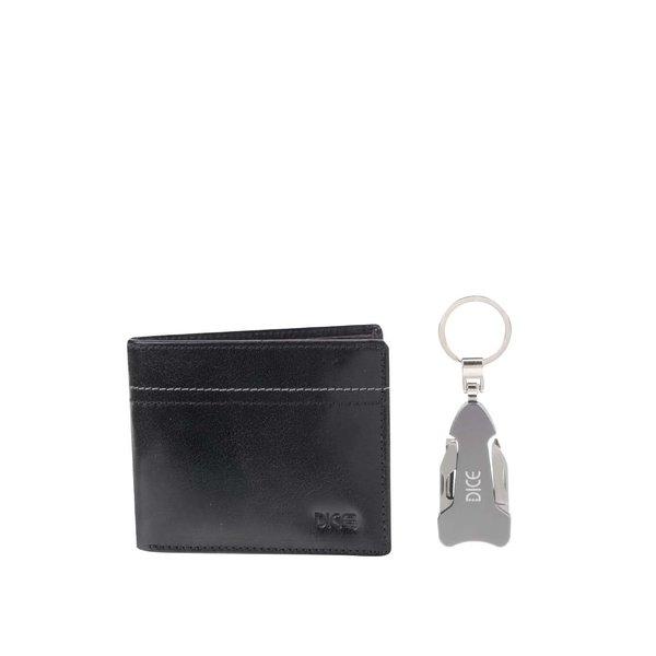 Set portofel negru din piele & breloc cu cuțit multifuncțional Dice