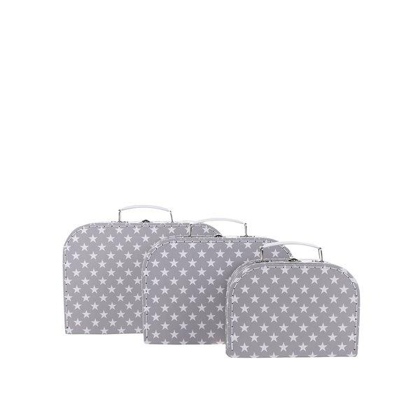 Set 3 cutii pentru depozitare gri Sass & Belle cu buline