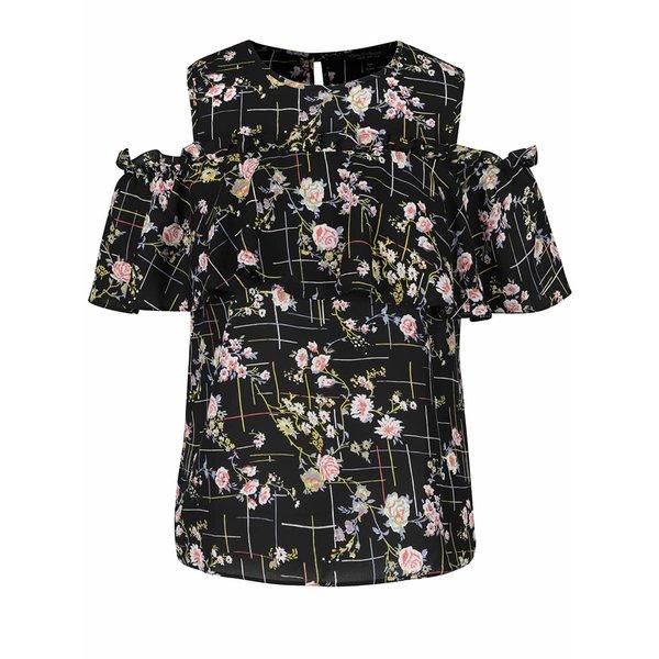Bluză neagră Miss Selfridge cu umerii decupați și imprimeu floral