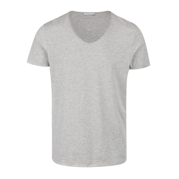 Tricou basic gri melanj cu anchior - Selected Homme Merce