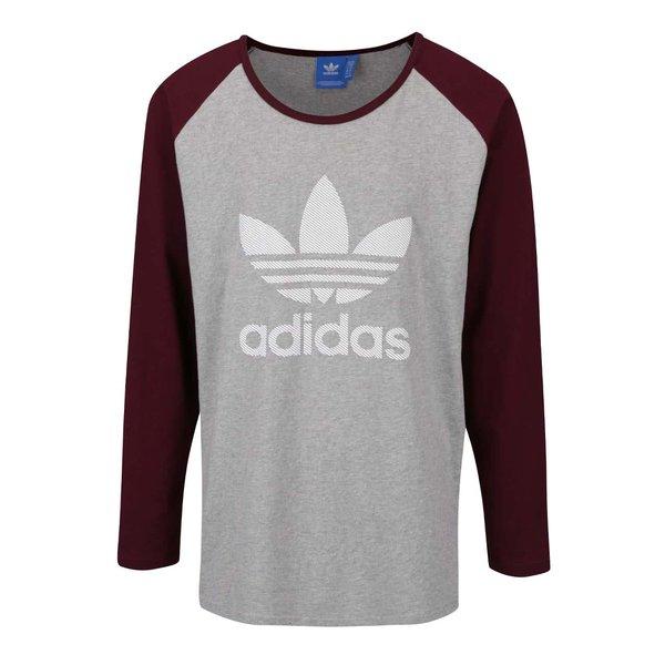 Bluză gri cu vișiniu Adidas Originals cu print de la adidas Originals in categoria bluze