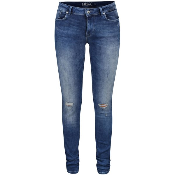 Jeanși skinny albaștri ONLY Carmen cu aspect uzat de la ONLY in categoria blugi