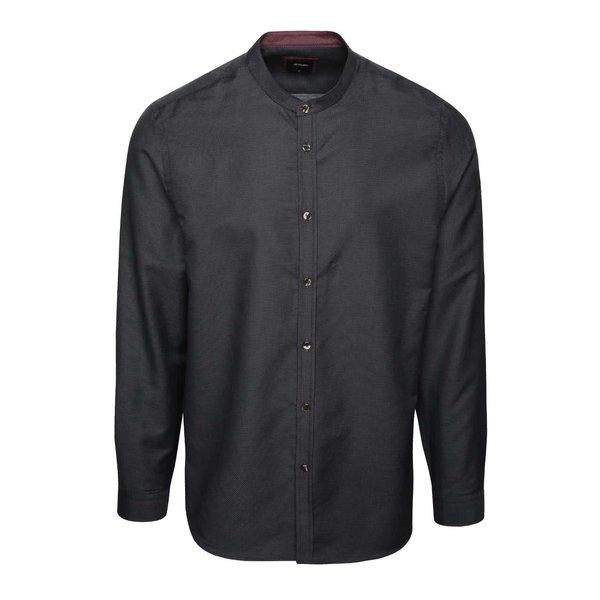 Cămașă neagră Burton Menswear London din bumbac cu guler tunică și model discret