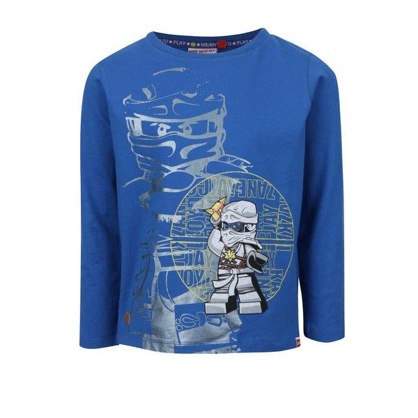 Bluză albastră LEGO Wear Teo din bumbac cu print pentru băieți