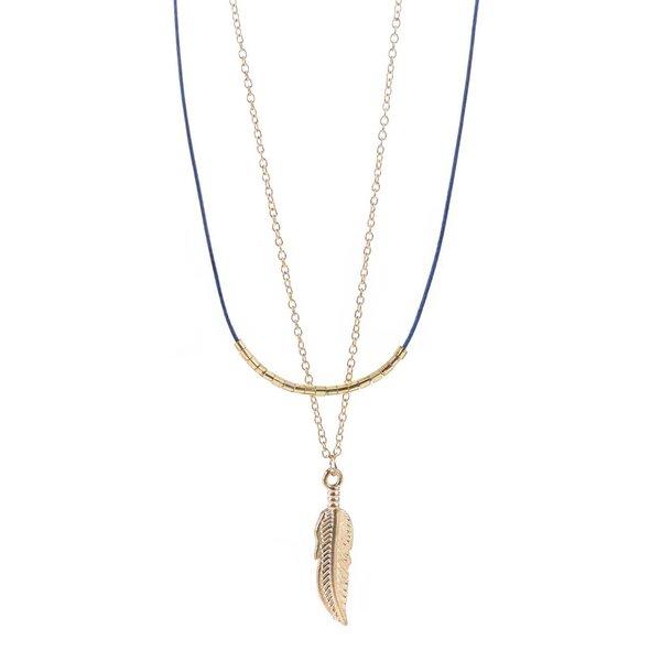 Colier auriu& albastru Haily's cu pandantiv de la Haily´s in categoria Ceasuri și bijuterii