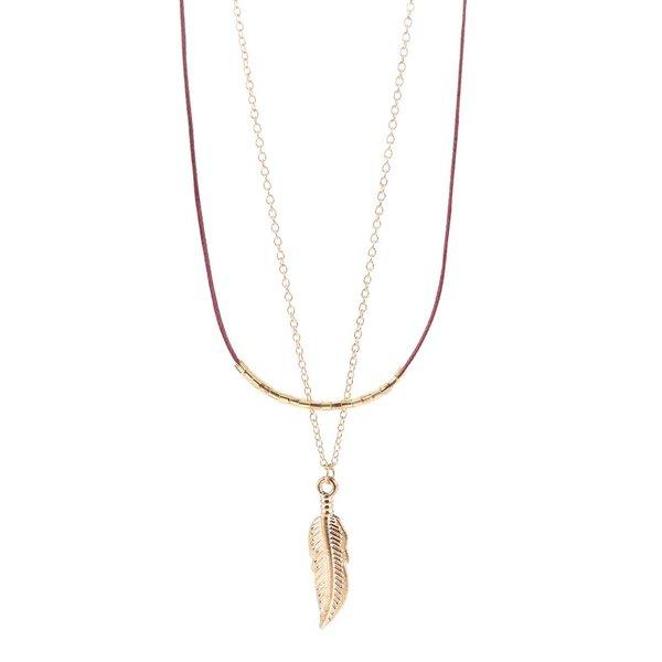 Colier auriu& vișiniu Haily's cu pandantiv de la Haily´s in categoria Ceasuri și bijuterii