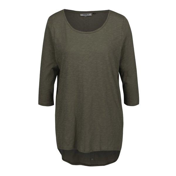 Bluză asimetrică verde oliv cu mâneci trei sferturi ONLY Casa de la ONLY in categoria bluze