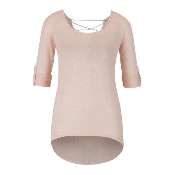Bluză roz piersică Haily´s Annie cu șireturi