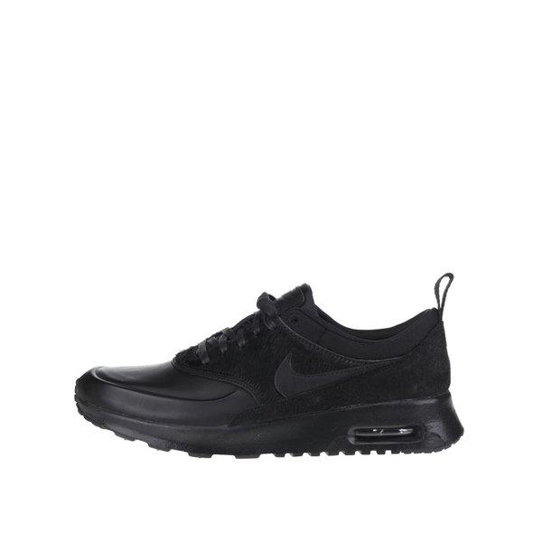 Pantofi sport negri Nike Air Max Thea Premium cu detaliu din blană sintetică pentru femei