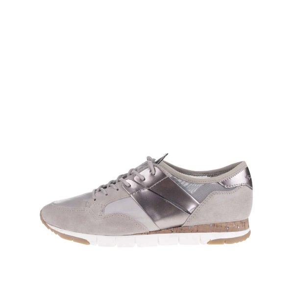 Pantofi sport gri Tamaris cu detalii argintii de la Tamaris in categoria pantofi sport și teniși
