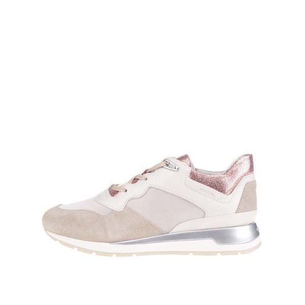 Pantofi sport crem & bej Geox Shahira cu detalii din piele întoarsă pentru femei