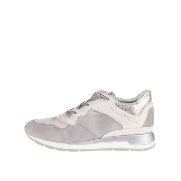 Pantofi sport crem & gri cu detalii argintii Geox Shahira de la Geox in categoria pantofi sport și teniși