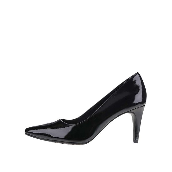 Pantofi negri cu toc Tamaris cu aspect lăcuit de la Tamaris in categoria pantofi cu toc
