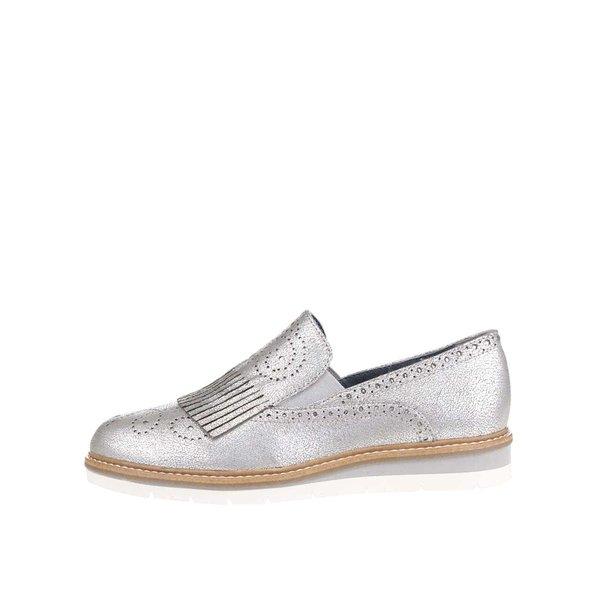 Mocasini argintii Tamaris cu franjuri și perforații de la Tamaris in categoria pantofi și mocasini