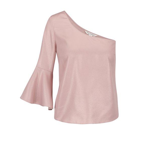 Top roz pal Miss Selfridge cu umăr gol și mânecă evazată