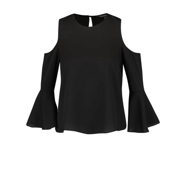 bluza neagra Miss Selfridge cu decupaje la umeri si maneci evazate